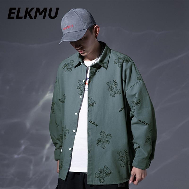 Зеленые рубашки ELKMU в стиле Харадзюку, женские рубашки с рисунком медведя, рубашки с длинным рукавом, демисезонные куртки, мужские топы HM072