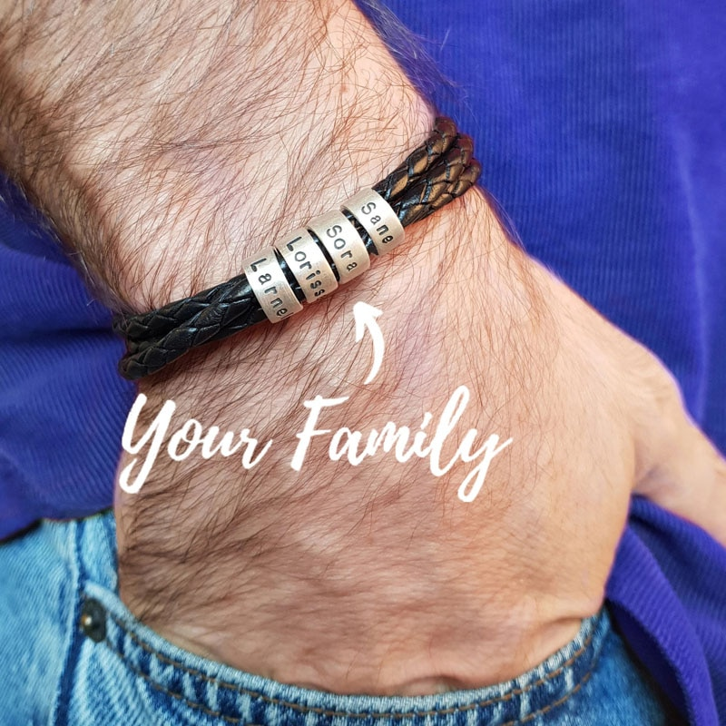 Personalized Custom Names Men Braided Rope Genuine Leather Magnetic Buckle Bracelet With Stainless Steel Beads Husband Gift personalized stainless steel braided rope charm bracelets custom name leather bracelet with 2 5 names beads for family men gifts