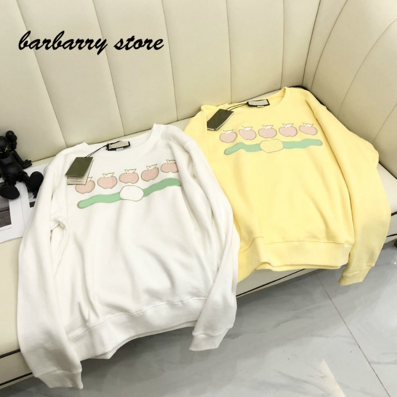 2021 deluxe design Apple letter printing fashion women's long sleeve Pullover temperament versatile round neck casual sweater