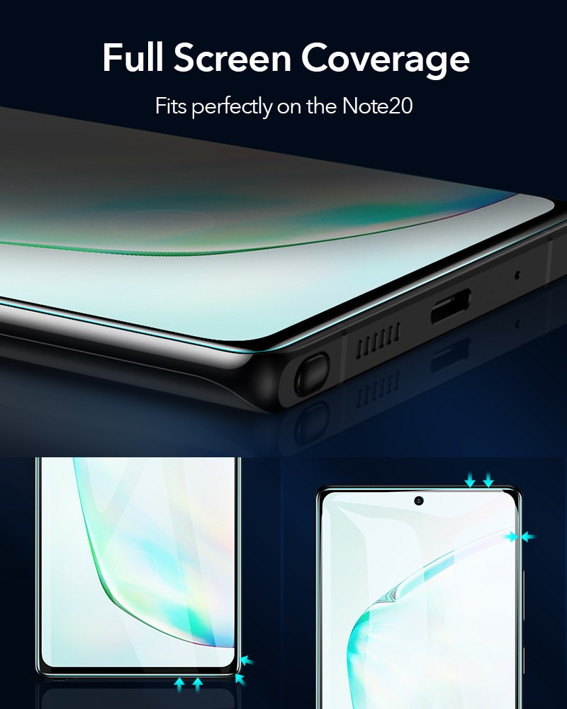 ESR 2PCS Tempered Glass for Samsung Galaxy Note 20 Ultra S20 S10 Ultra Plus Lite Note10/9 Full Curved Film Screen Protector enlarge