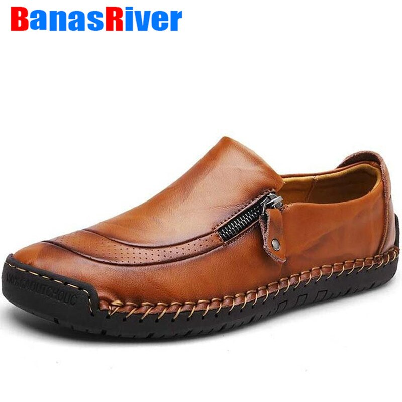 Zapatos de cuero de marca de talla grande 38-48 para hombre, mocasines planos transpirables casuales de moda, cremalleras, zapatos para conducir, calzado para caminar al aire libre