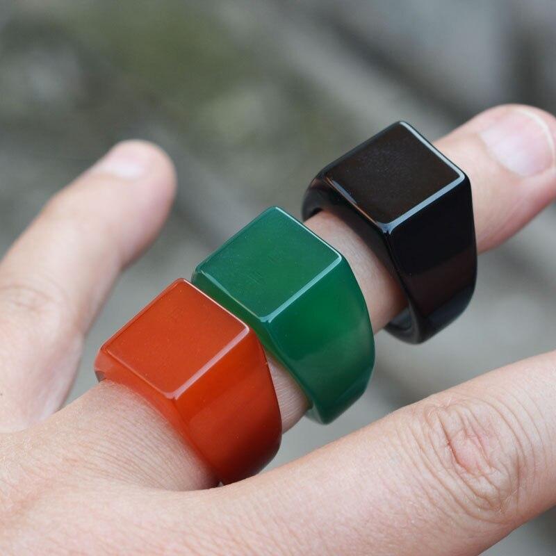 Anillo de alta calidad para hombre, anillo rojo negro verde de ágata, anillo de dedo, regalo para mujer, joyería fina de piedra de Jade