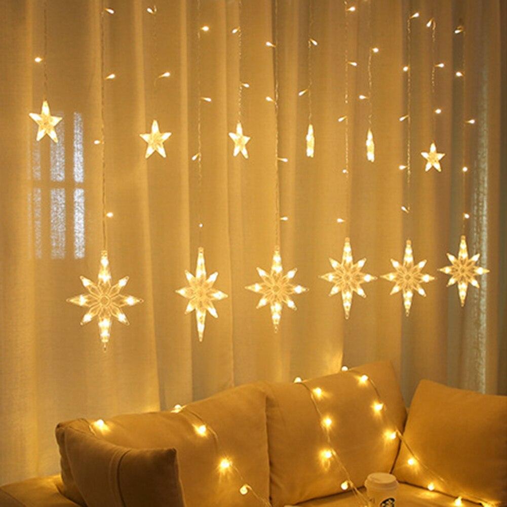 СВЕТОДИОДНАЯ Гирлянда со звездами, гирлянда-занавеска на окно, сказосветильник светильник, Рождественская Водонепроницаемая гирлянда для ...