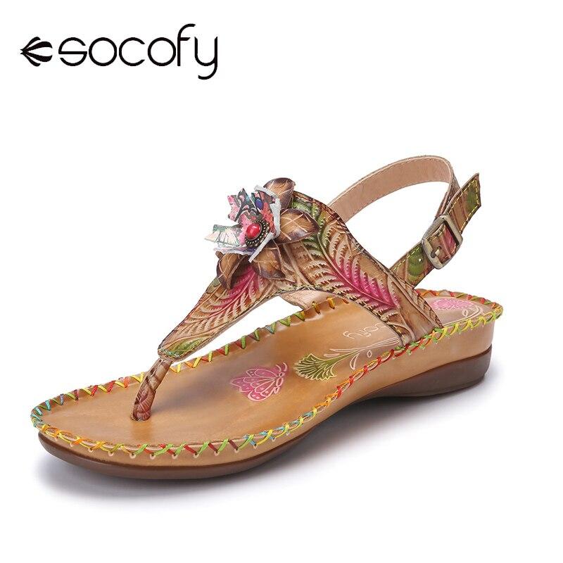 Socofy Bohemian Ethnic Print Flower Genuine Leather Buckle Clip Toe Flat Beach Sandals Women Fashion