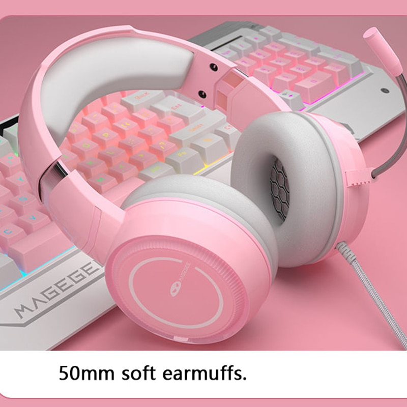 Pink Mechanical Gaming Keyboard USB Wired pc gaming Keyboard For Gamer PC Laptop keycaps Keyboard mouse earphone sets for girl enlarge