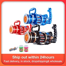 2-in-1 Electric Bubble Machine With Bubble Toy Gatling Bubble Gun Kid Toy Children Outdoor Sports Gi