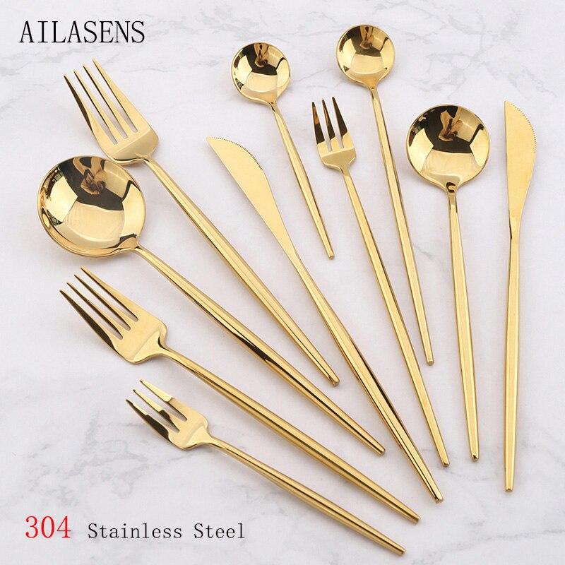AILASENS 24 шт. Комплект посуды Золотое высококачественное зеркало 304 нержавеющая сталь нож вилка ложка столовая посуда безопасный набор столов...