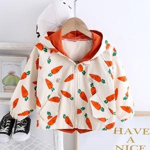 Toddler Girl Fall Clothes 2020 Children 0-4 Yrs Old Cute Loose Cartoon Print Hooded Windbreaker Jacket Kids Coat Children Jacket