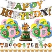 13pcs animal world party cake topper happy birthday party decor kids safari woodland forest theme parti cake decor kids favor