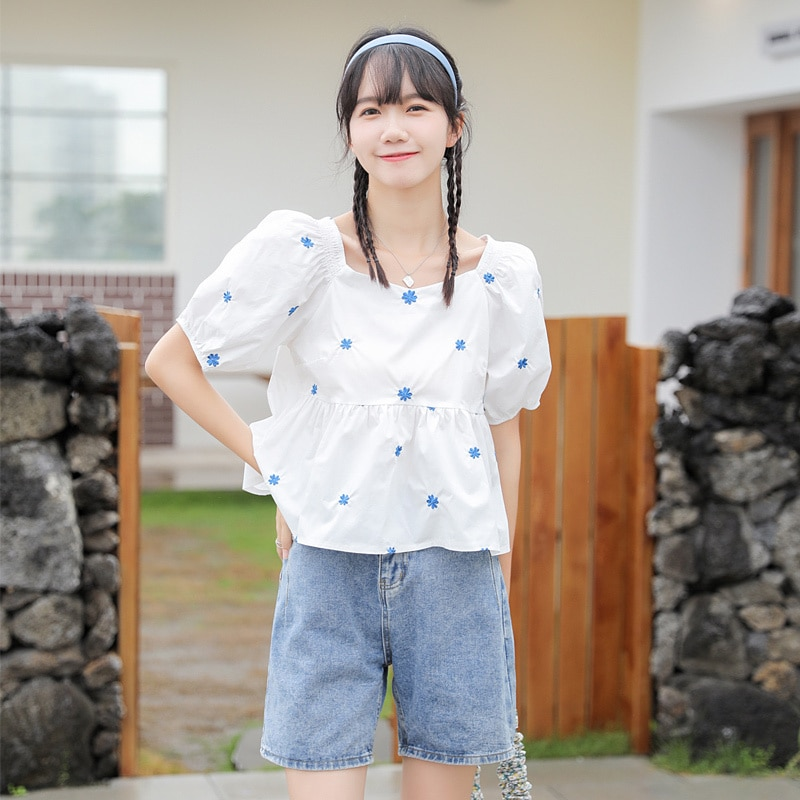 2021 Summer New Sweet All-Matching Slimming Square Collar Embroidery Short-Sleeved Blouse Small Shir