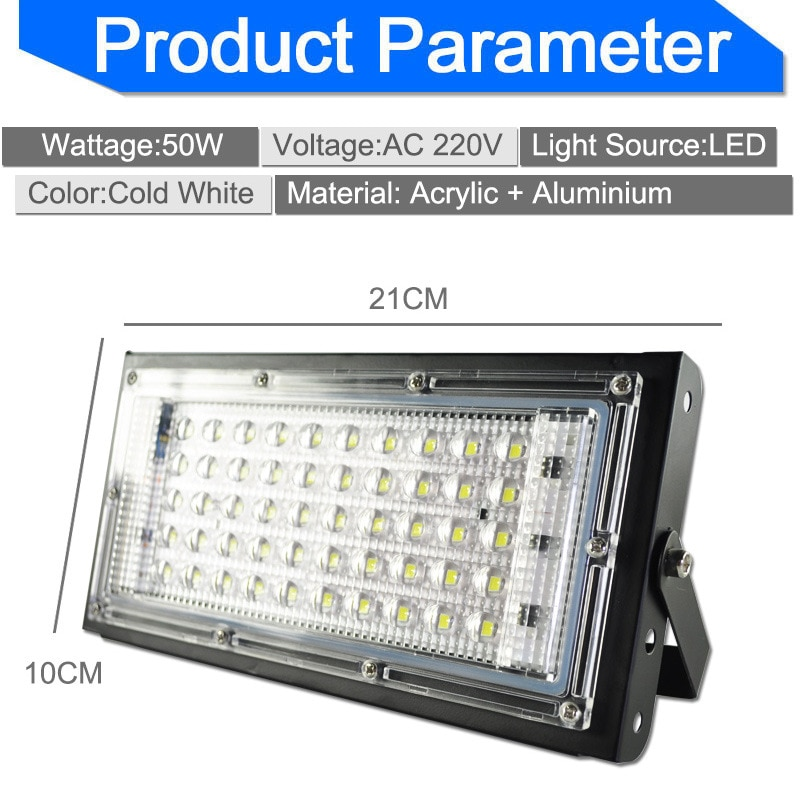 1Pcs Hot 50W Led Flood Light  AC110-220V Outdoor Floodlight Spotlight IP65 Waterproof LED Street Lamp Landscape Lighting