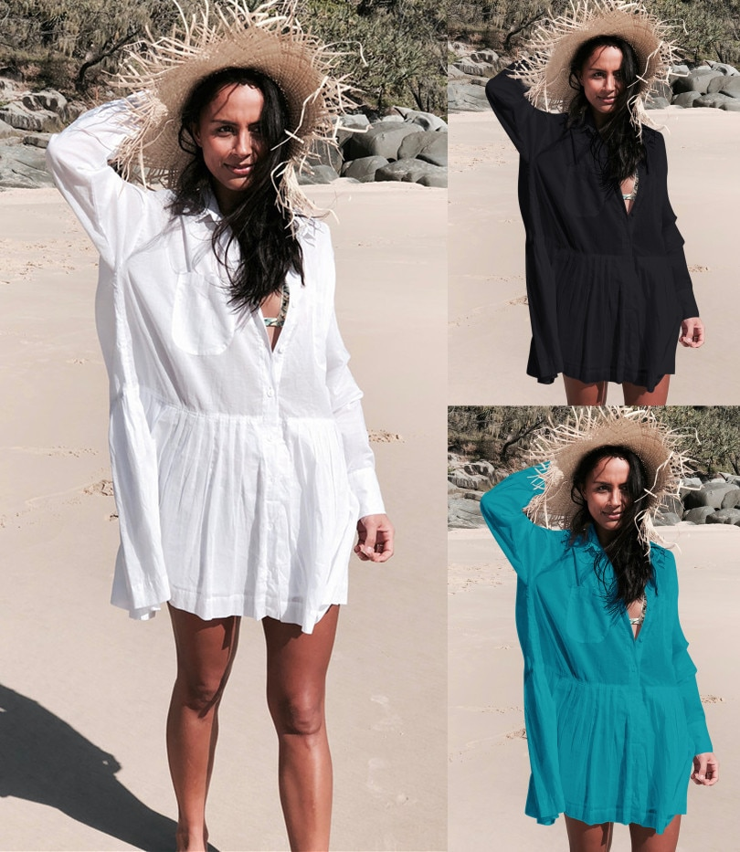 2019 Summer Women Shirtdress Beach Wear White Cotton A-line Swim Suit Cover Up Plus Size Roll Up Sleeve Short Solid Dress Pareos sexy beach summer dresses women 2019 solid chiffon a line short holiday dress backless bowknot ladies beach cover up plus size