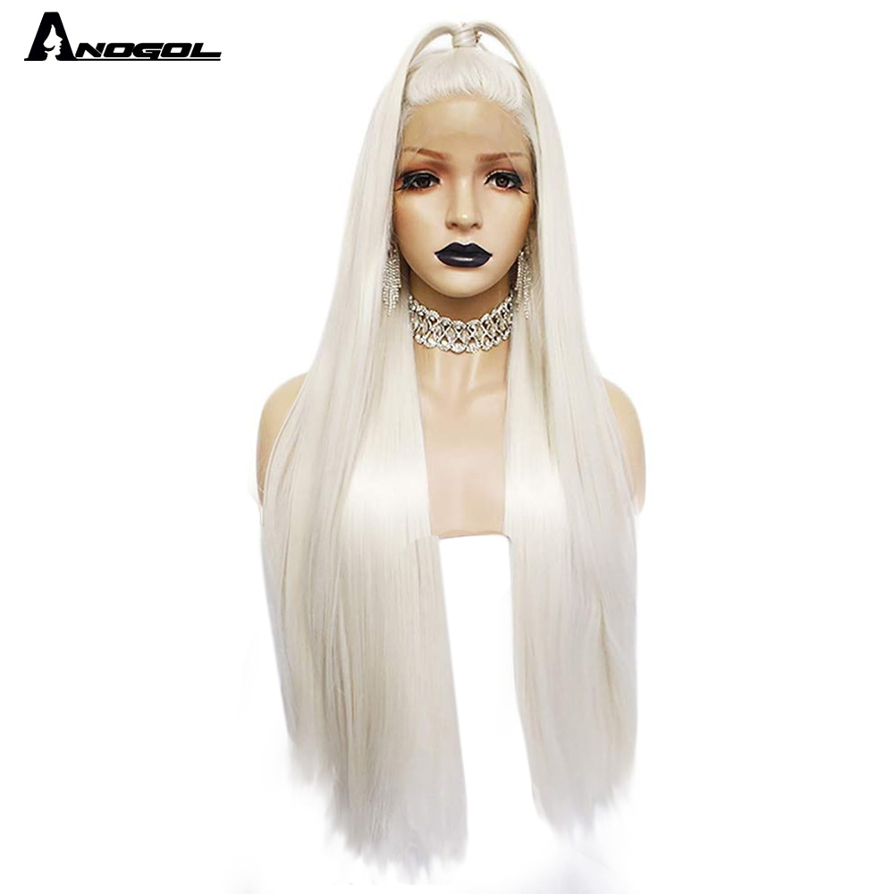 Anogol Platinum Blonde Natural Hair Wigs 613  Long Silky Straight Synthetic Lace Front Wig For White Women