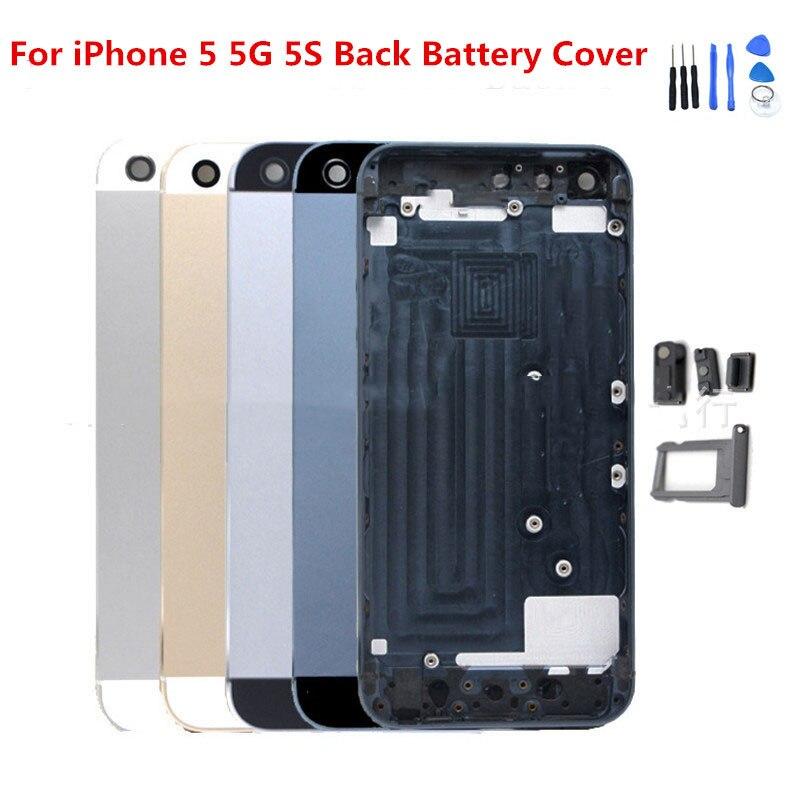 Para iphone 5 5G carcasa de batería funda carcasa chasis para Apple iphone 5s carcasa trasera para iphone 5 5G 5S