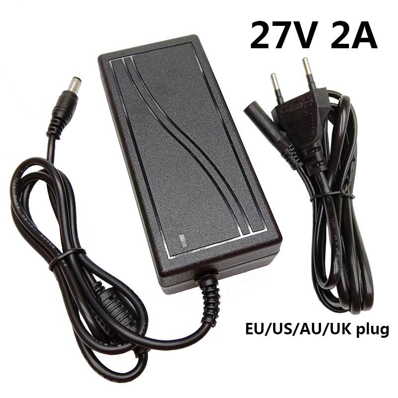 Adaptador de fuente de alimentación de 27 voltios, transformador de conmutación, enchufe de la UE, EE. UU., AU, Reino Unido, AC DC, 5,5x2,5mm, 27 V, 2A