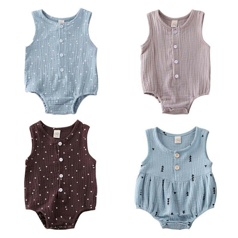 Newborn Infant Baby Girls Boys Clothes Romper Sleeveless Button Jumpsuit Bodysuit Cotton Linen Outfit 0-12M