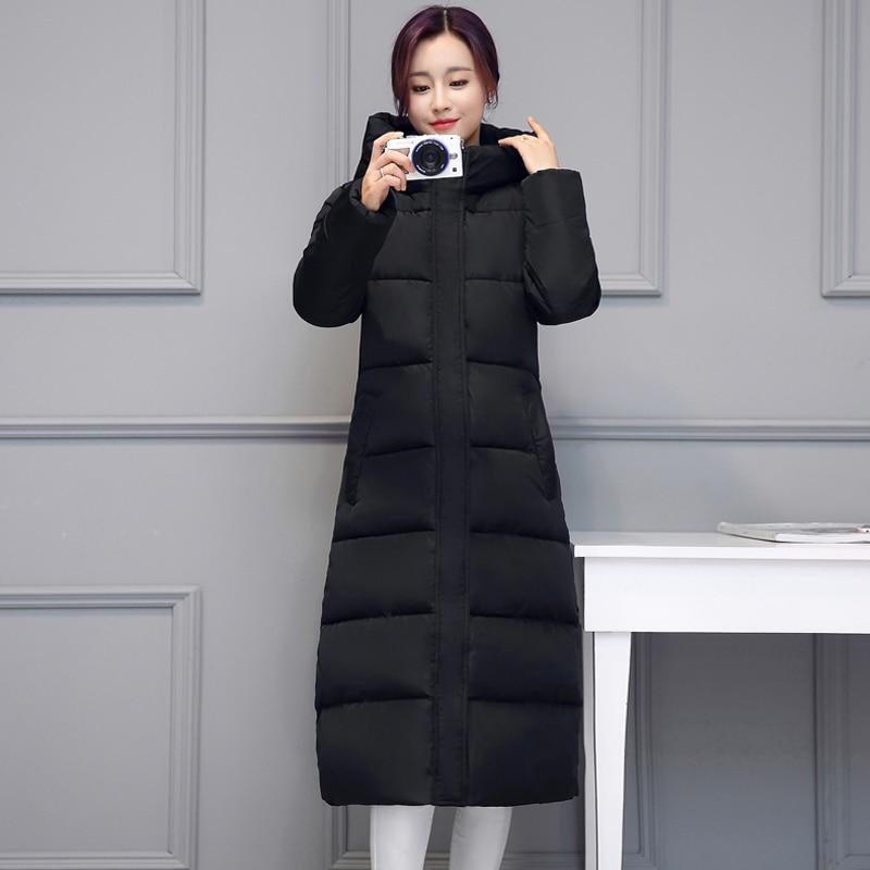 plus size X-long women parkas 2020 winter slim jacket thick hooded stand collar solid outwear casual female coats kurtka damska