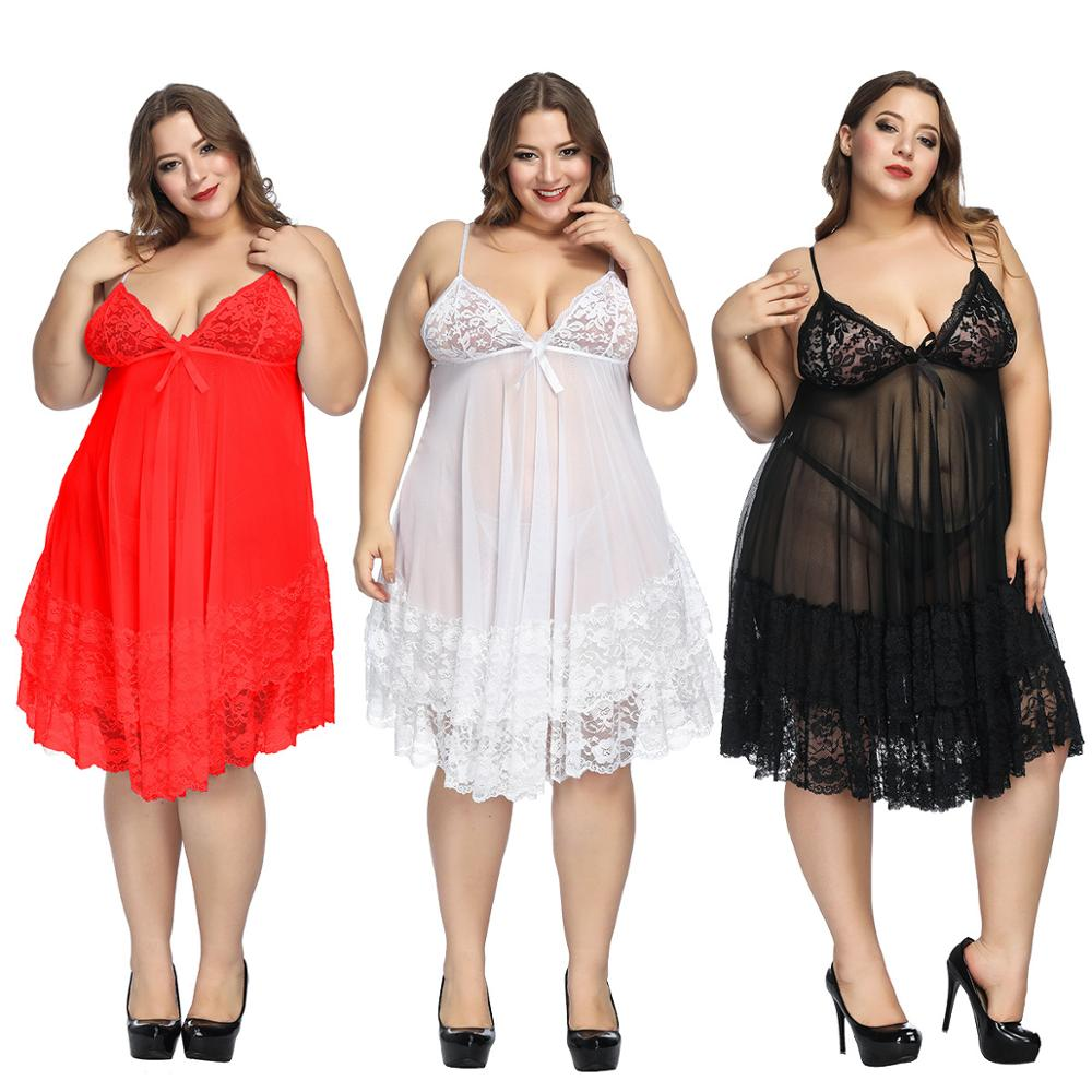 7XL Plus Size Women Nightdress Sexy Nightwear Babydoll Lace Large Nightgown Set Sleepwear Dress Sexy