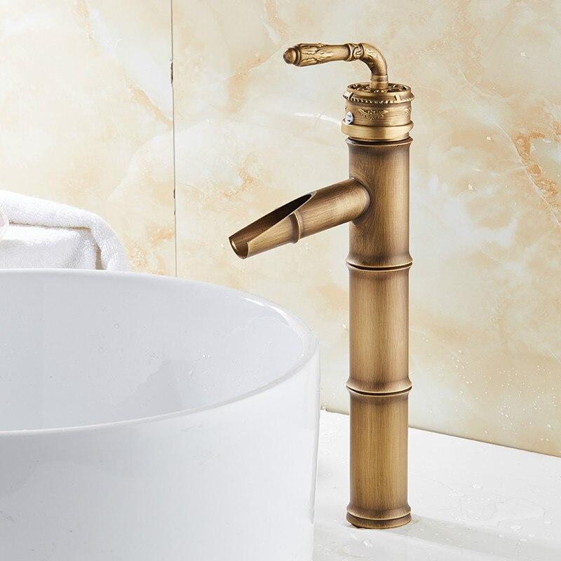 صنبور حمام نحاسي من الخيزران ، صنبور شلال ، خلاط ساخن وبارد ، مقبض عتيق مفرد