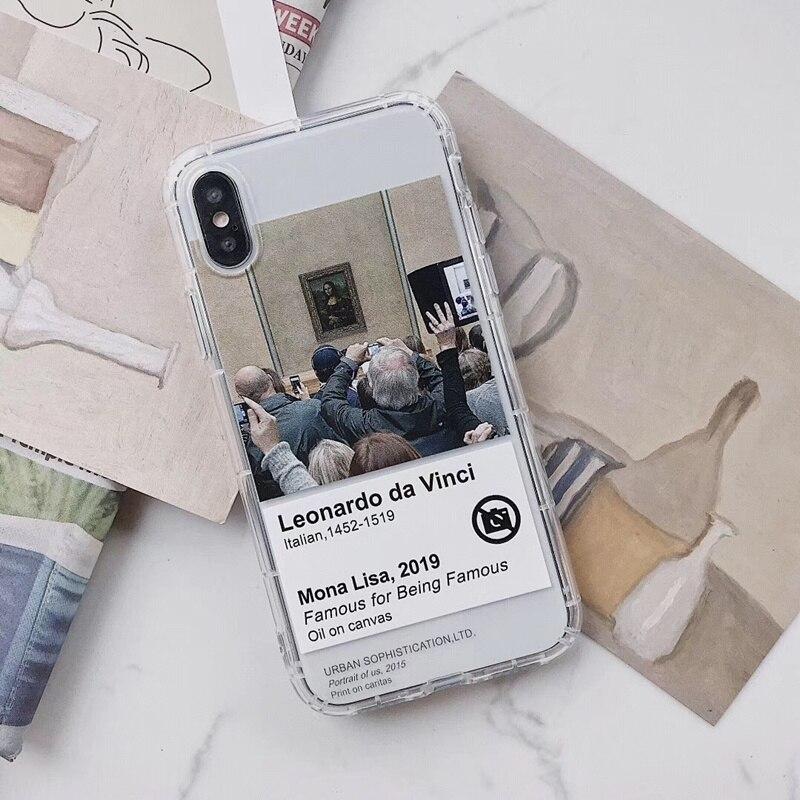 Funda de teléfono con estampado retro Mona Lisaoil para iPhone X XS MAX XR 11 Pro 6S 7 8 plus, funda de TPU transparente 3D a la moda