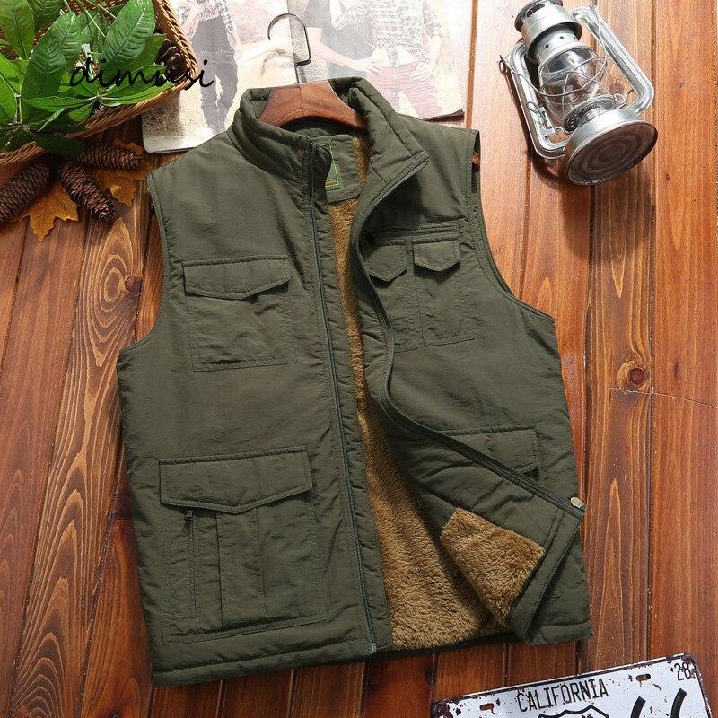 Зимняя мужская жилетка DIMUSI, повседневные флисовые теплые жилеты, мужские теплые жилеты, куртки, мужская армейская ветровка, куртки без рука...