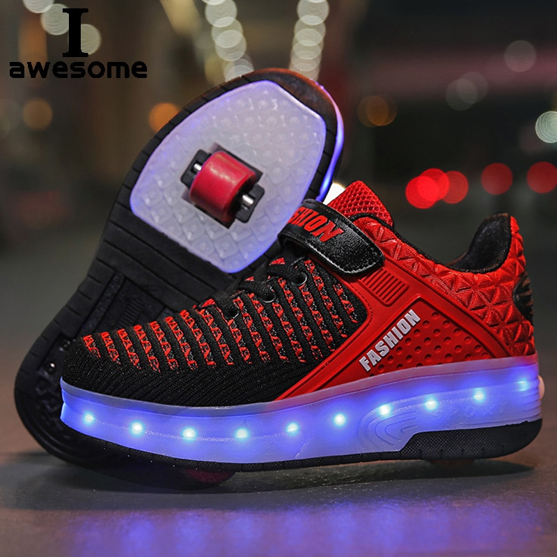 Roller Sneakers for Kids Boys Size 28-40 LED Light Up Shoes with Double Wheels USB Charging Skate Shoes for Children Boys Girls