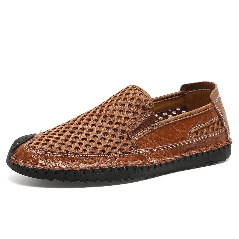 Мужская дышащая сетчатая обувь TOSJC, черная повседневная обувь из натуральной кожи, мягкая удобная обувь для лета, 2019