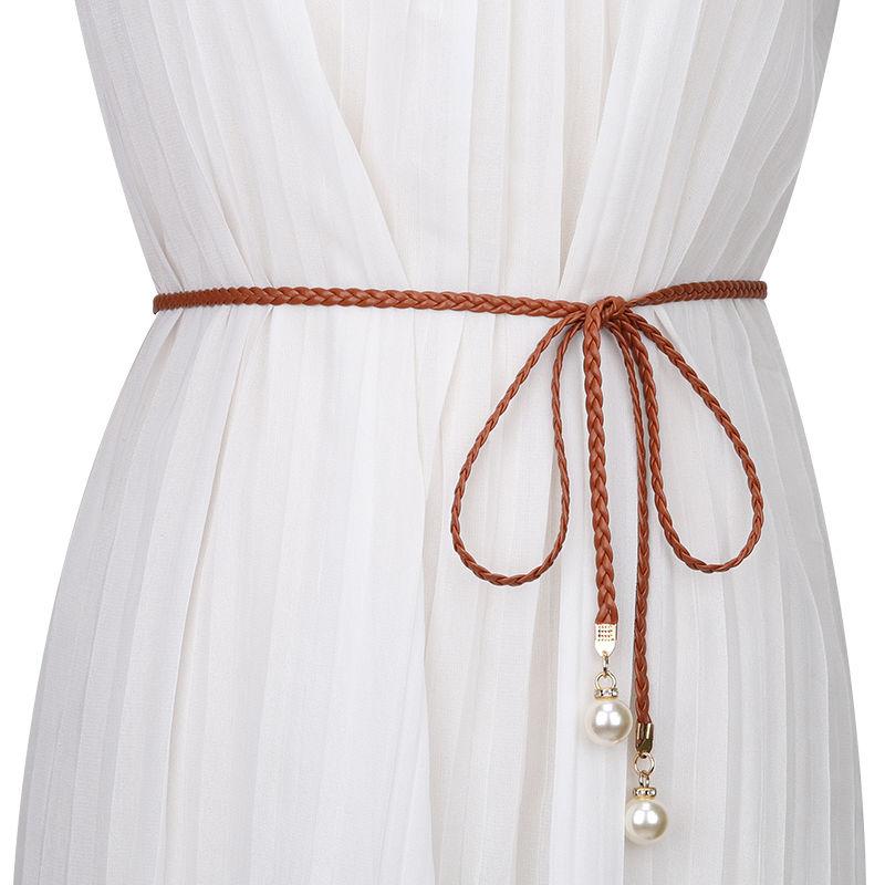Womens Weaving Belt For Dress Fashion Candy Colors Hemp Rope Braid Belts Female Thin Adjustable Belt