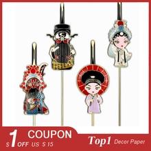 Tangfoo Metal Peking Opera Chealrom School Handicraft Gift Stationery Bookmarks 1/2/4 PCS Peking Opera Metal Bookmarks Gifts