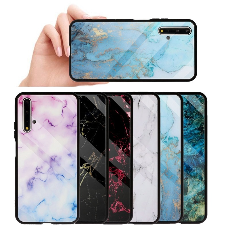 Marble Glass Phone Case For Huawei P30 P20 Pro P10 Lite Nova 5T 2i 3 3i Honor 20 Pro 8 9 10 Lite 20S 8X P Smart 2019 Cover Coque