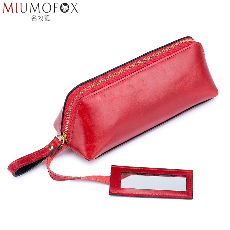 Bolso de lápiz labial para niña, bolso de maquillaje de cuero genuino para mujer, bolso de lápiz para cejas elegante 2020, bolso EDC, bolso cosmético para mujer con espejo