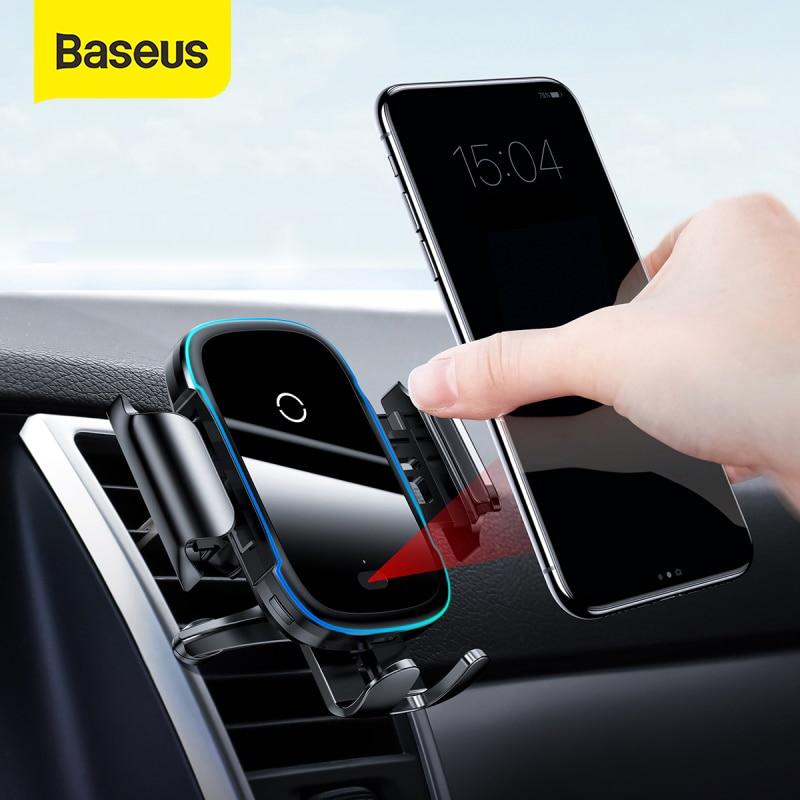 Baseus 15 واط تشى شاحن لاسلكي سنادات بالسيارة ل تنفيس الهواء جبل حامل هاتف السيارة ذكي الأشعة تحت الحمراء سريع شاحن لا سلكي