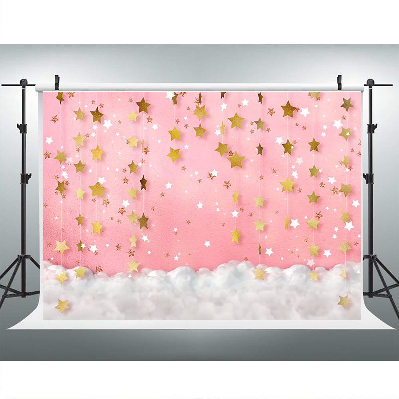 Blue Flash Starry Sky Photography Background Golden Stars White Cloud Children Birthday Photographic Backdrops For Photo Studio enlarge