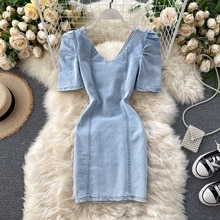Korean Denim Dress For Women Summer Dress 2020 Sexy V Neck Mini Jeans Dresses Puff Sleeve hollow out back dresses
