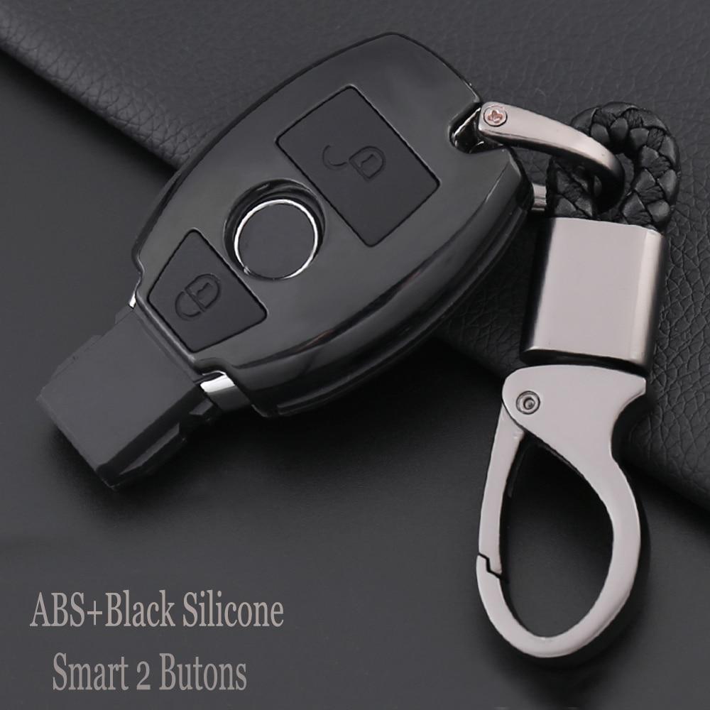 Carcasa de llave de mando a distancia de coche con protección redonda de carbono ABS + silicona para mercedes-benz Classe A180 A200 A260