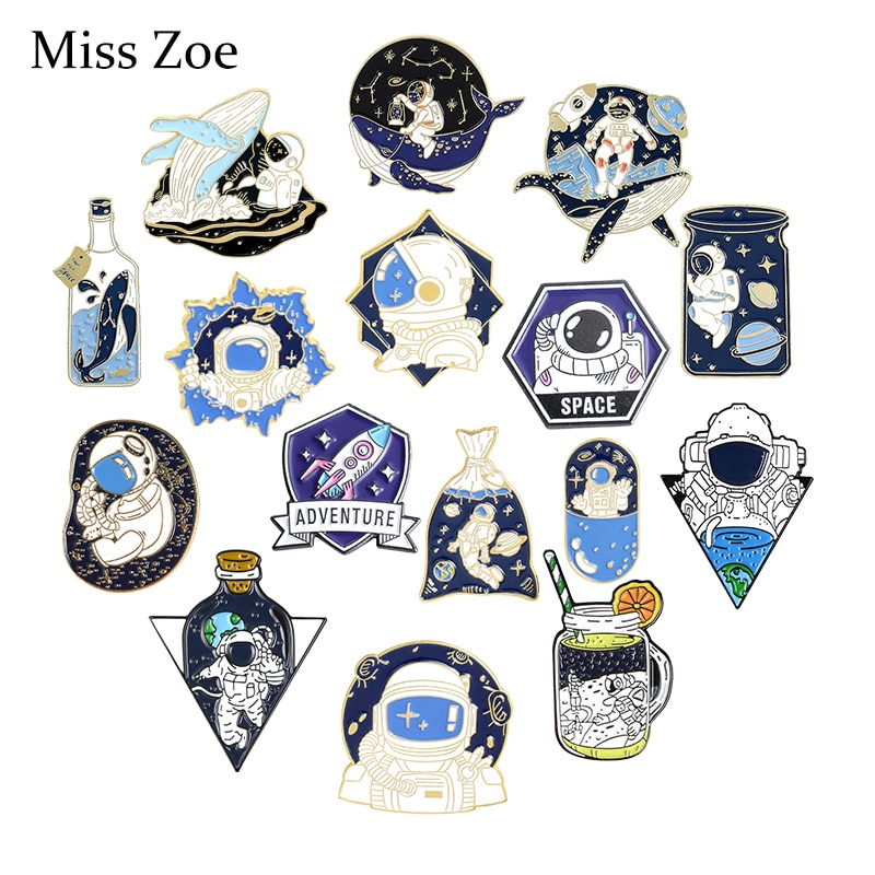 Take Off Now! Adventure Enamel Pins Cartoon Universe Space Astronaut Brooches Backpacks Clothes Lape