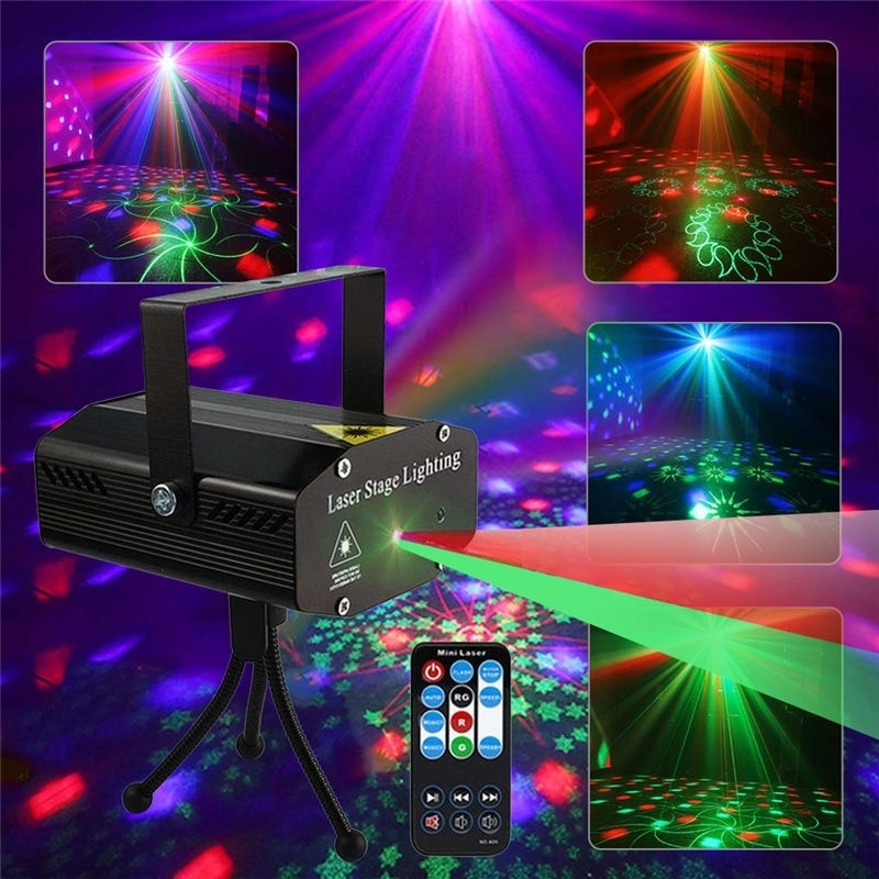 Xmas Stage Lights LED Laser Projector Disco Light Mini Auto Flash Laser Lamp Remote DJ Party Soundlights Christmas Decoratin new mini snowfall projector christmas lights outdoor projector ip65 moving head laser snow led stage light for xmas party lights