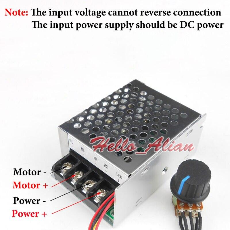 Regulador de alta potencia de 360W DC 12V 18V 24V 48V 30A PWM controlador de velocidad del Motor de CC interruptor de arranque suave protección limitadora de corriente