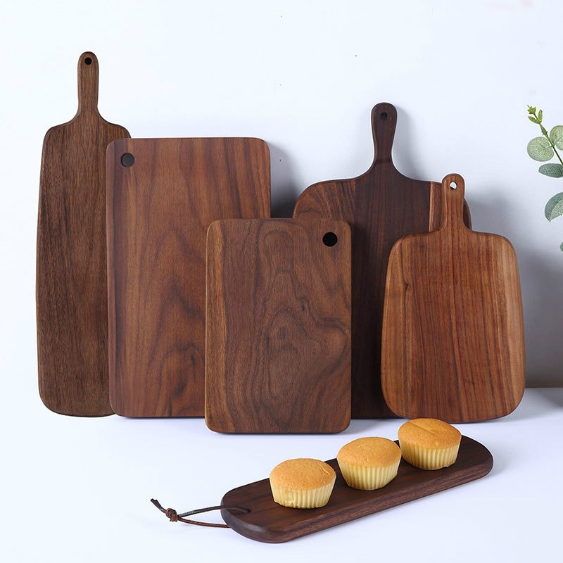 Japanese black walnut chopping board, chopping board, Wood Bread tray, fruit board, Western pizza sushi steak tray