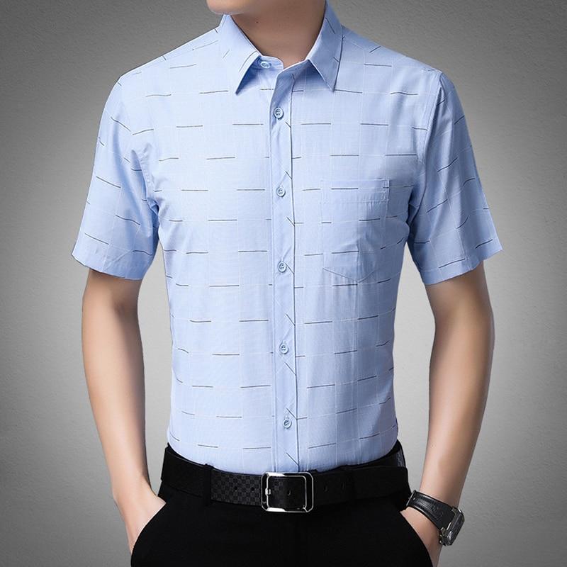 Browon 2020 nova moda camisas masculinas casual imprimir fino ajuste manga curta turn-down colarinho camisa de negócios plus size roupas masculinas