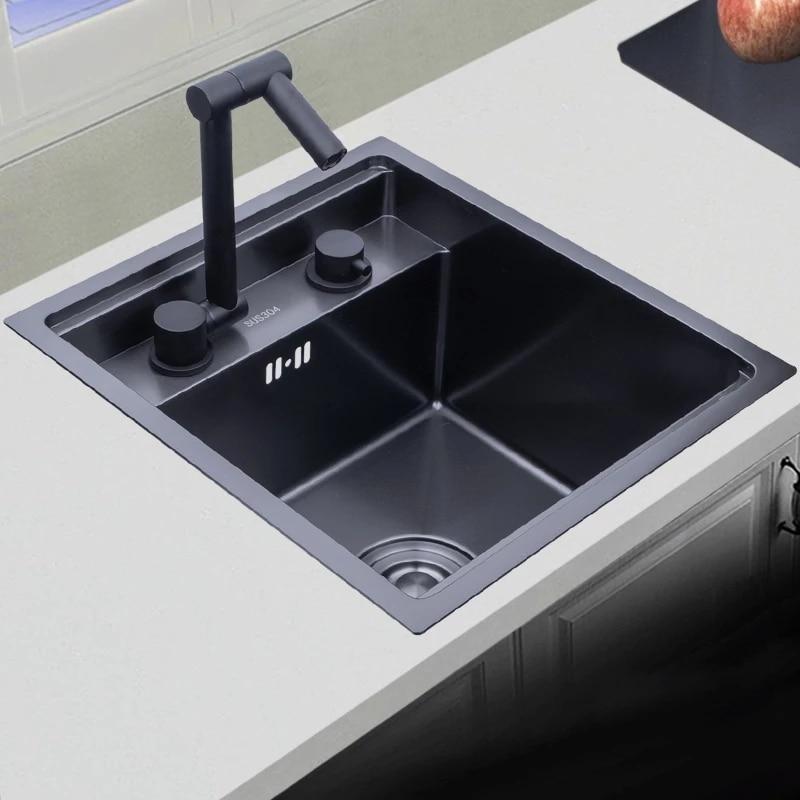 أسود مخفي بالوعة المطبخ وعاء واحد صغير الحجم بالوعة الفولاذ المقاوم للصدأ شرفة بالوعة أخفى أسود بالوعة المطبخ بار بالوعة