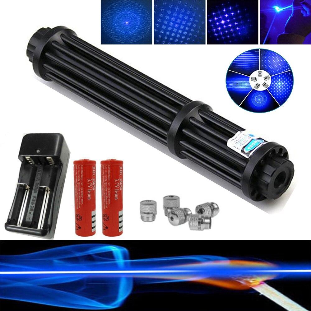 Большинство Мощность Фул Синяя лазерная указка высокой Мощность военные 450nm лазерный прицел ручка регулируемый фокус сжигания матчи