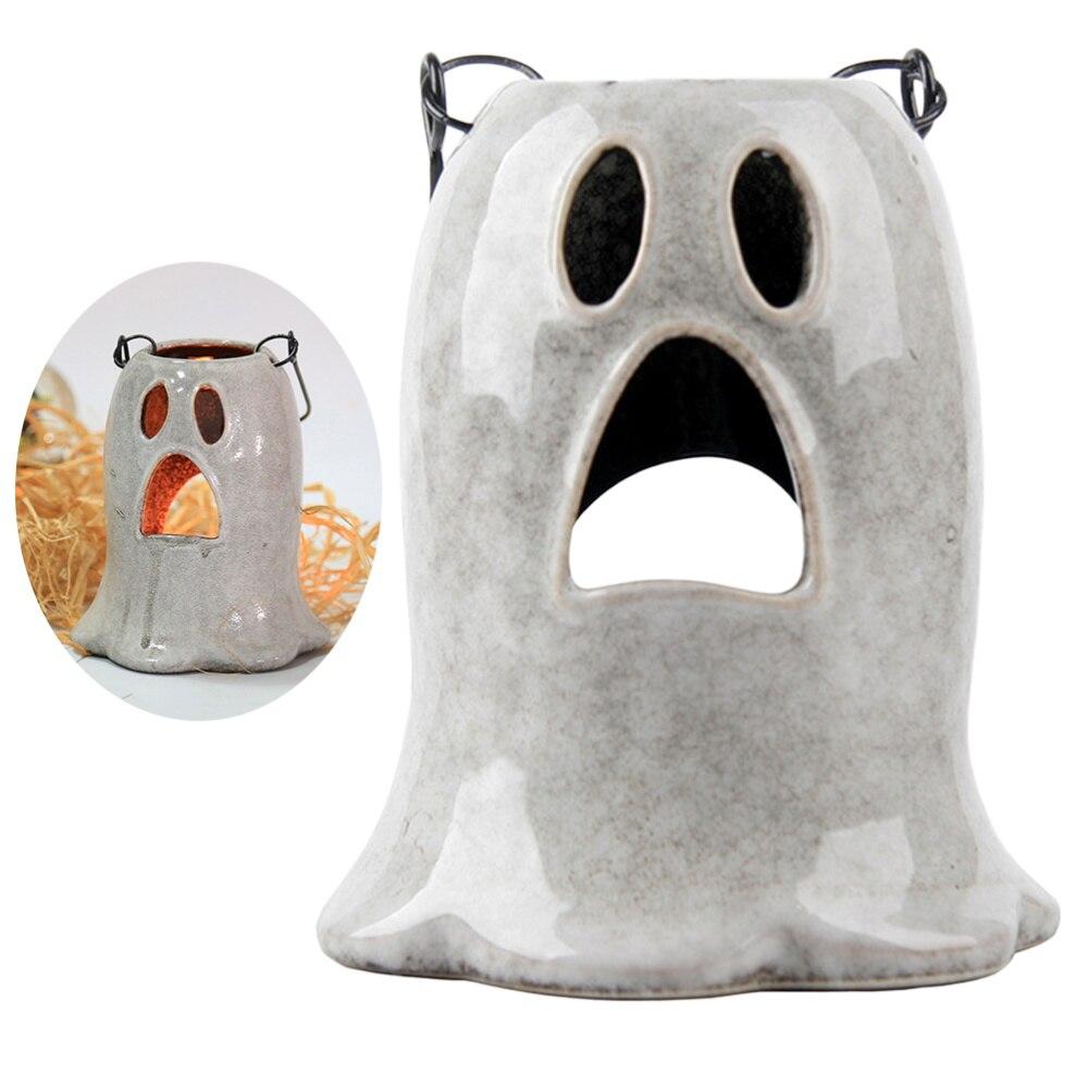 Candelabro de cráneo de resina para decoración de Halloween, modelo creativo decorativo para Halloween, candelabro para el hogar al aire libre, interior (Gyo blanco)