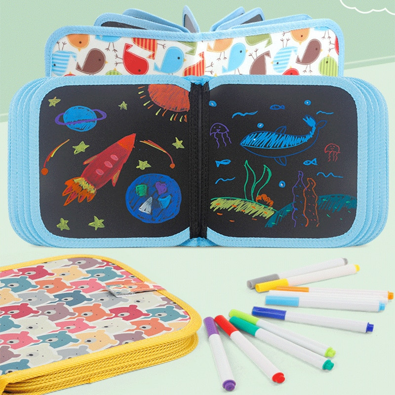 Baby Painting Toys Black Board with Magic Pen Baby Toys Set Drawing Toys For Children Painting Color