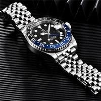 Часы PAGANI Мужские механические, брендовые деловые из нержавеющей стали с сапфировым стеклом, Водонепроницаемость 100 м, 40 мм GMT