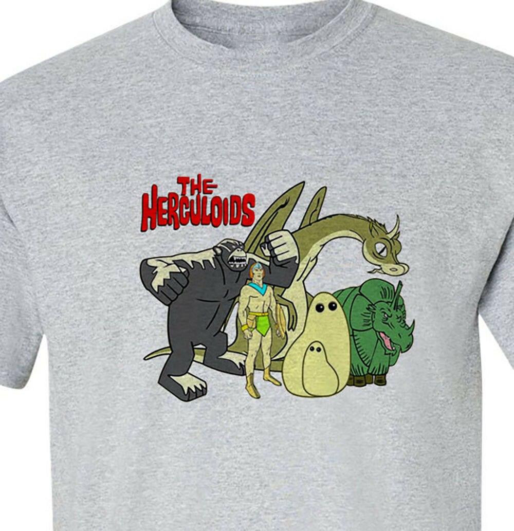 The Herculoids T-Shirt gray logo Saturday Morning Cartoons retro Personality Custom Tee Shirt