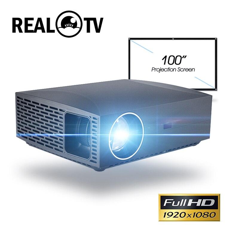 Projetor de cinema real tv f30, full hd 1080p 4k 6500 lúmens, android, wifi, bluetooth, hdmi com presente
