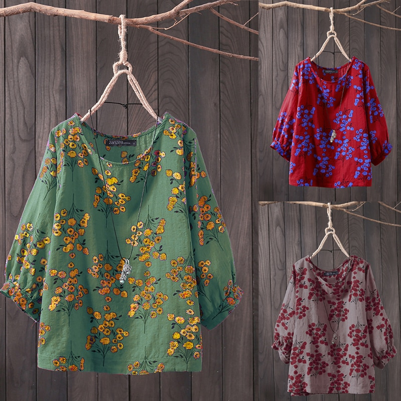 AliExpress - ZANZEA 2021 Plus Size Women Tops and Blouses Casual Work Office Blusas Ladies Vintage Floral Tunic Tops Female Pritned Shirt 5XL