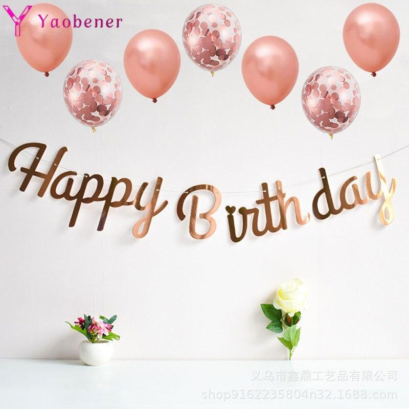 Primer cartel de feliz cumpleaños, globos de confeti, decoración para niños, niño, niña, 1 er cumpleaños, Rosa dorados fiesta, suministros para decoración de un año para bebé
