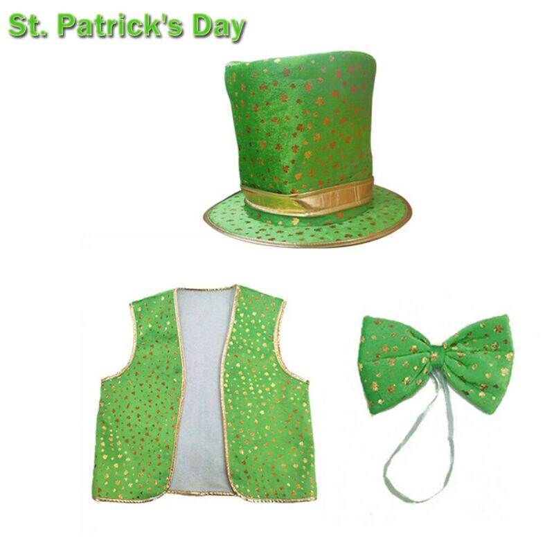 3 uds de las mujeres de los hombres de día de St Patrick vestido chaleco sombrero y pajarita conjunto Patricks